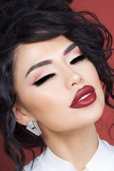 Applying Lipstick And Liner