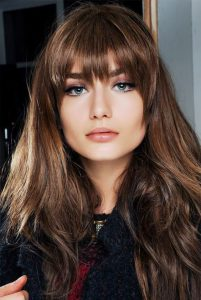 Blunt Bangs With Straight Layered Hair