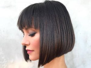 Thick Short Bob with Bangs
