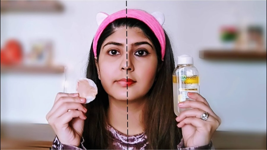 remove makeup with micellar water